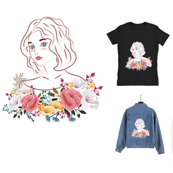 IBOWS Fashion Girl Unicorn Patch Iron-On Transfers Vynil Heat Transfer Ironing Sticker T-shirt Thermal Patches For Clothing Iron image
