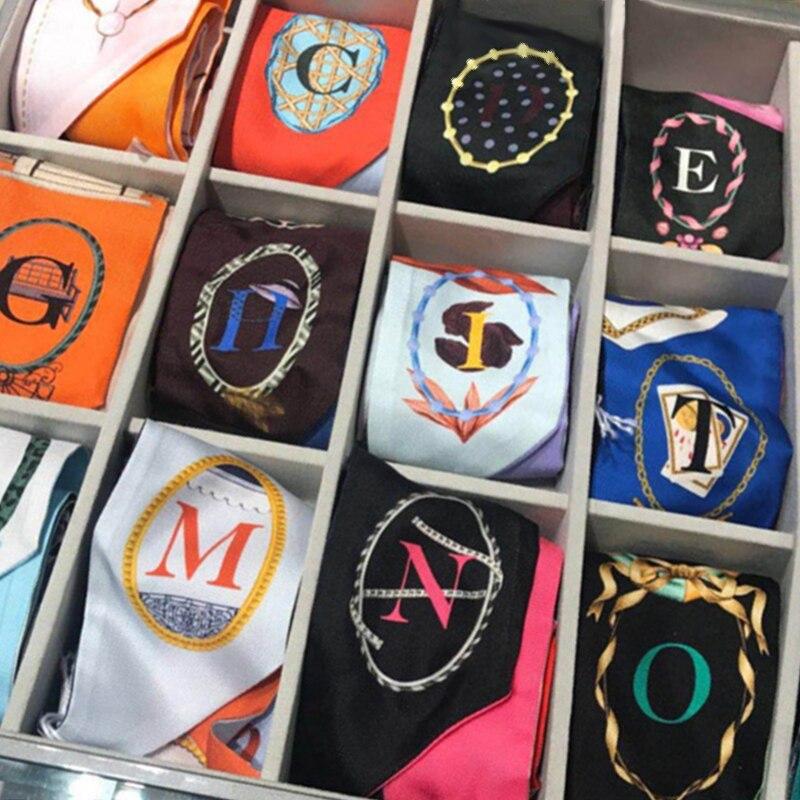 Alphabet 26 Letters New Design Print Bandana Silk Scarf Brand Luxury 2018 Women Ribbons Small Tie Bag Skinny Constellation Scarf