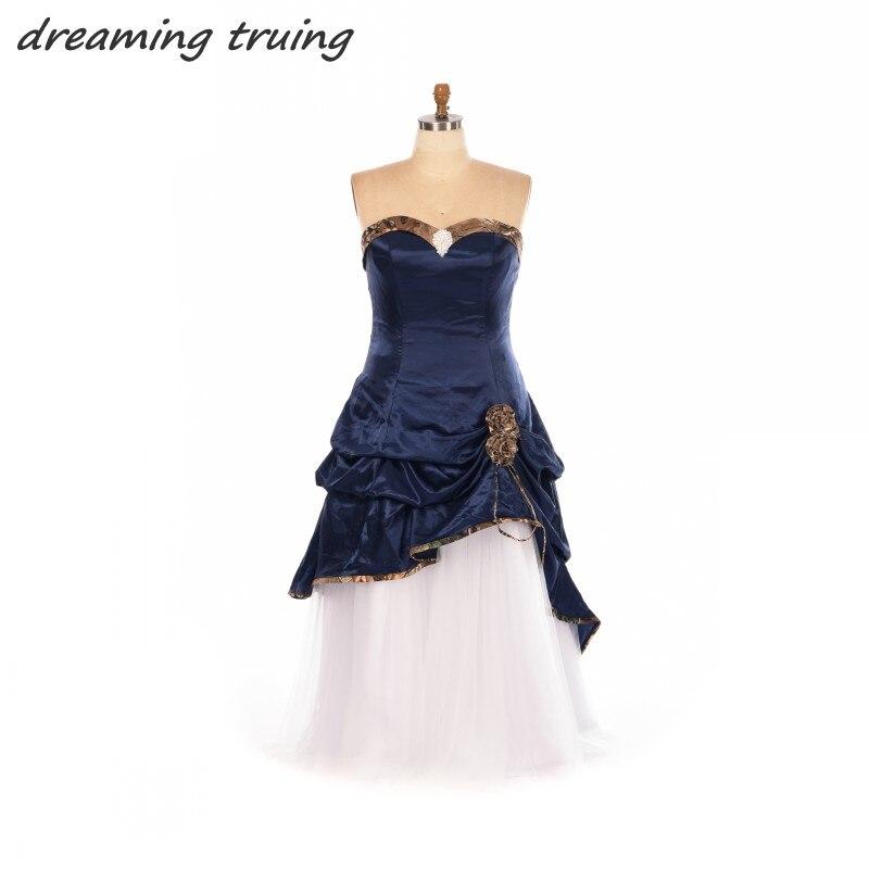 Gothic Wedding Dresses Plus Size: Dark Blue Gothic Wedding Dresses Plus Size 2018 With
