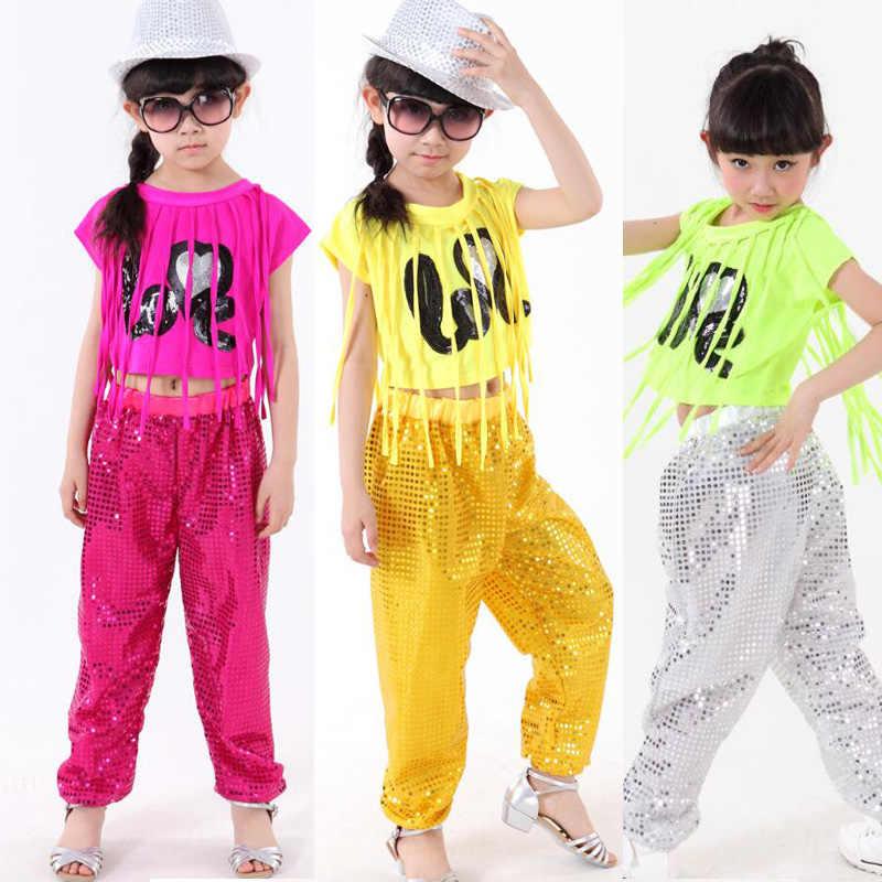 Niños sequined ropa de danza moderna Niñas Jazz hip hop Dancing Tops +  Pantalones danza trajes 88ad8f69e8a