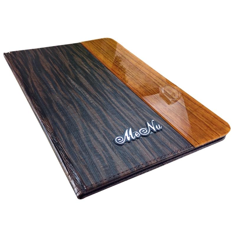 8x11 Inch Acrylic PU Leather Menu Folder 20.4x28.5cm Menu Cover 8 Sheets Menu Pockets Wood Texture