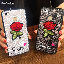 KaiNuEn luxury cute fashion Lace Embroidery Back 3D rose stickers Phone cover coque case For huawei p9 lite 2016 p9lite 2015(China)