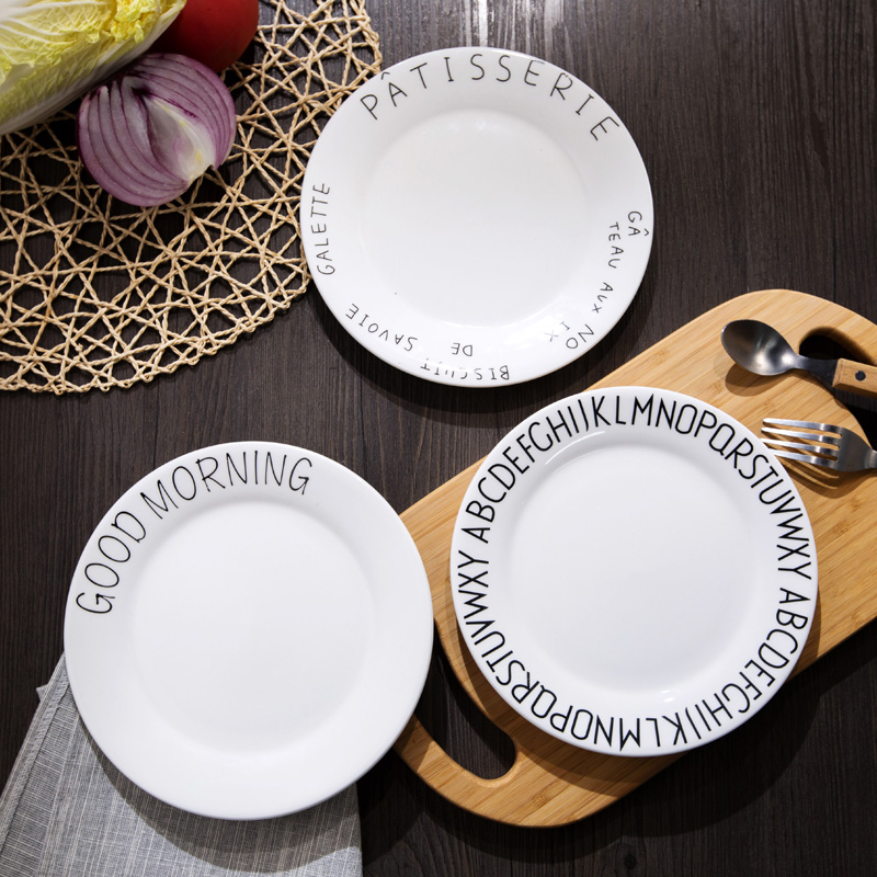 Western procelain dinner plate language good morning bonjour meici breakfast plate 8 inch 20cm round ceramic dish creative plate-in Dishes u0026 Plates from ... & Western procelain dinner plate language good morning bonjour meici ...