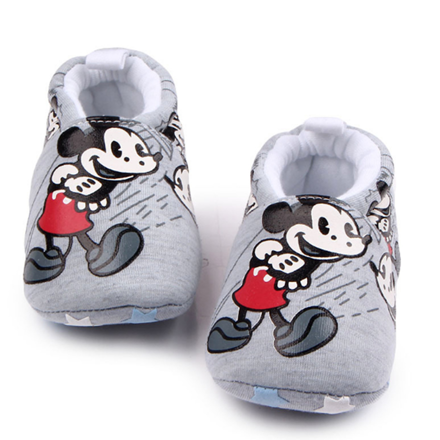 Baby Slippers Cartoon Mickey Minnie Family Baby Shoes Toddler Chaussure Bebe Crib Shoes Baby First Walker Shoes