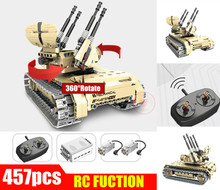 RC 360 Rotate Remote Control Self-propelled Gun Tank fit technic Military tank car RC Building Block Bricks Toy for kid gift недорого