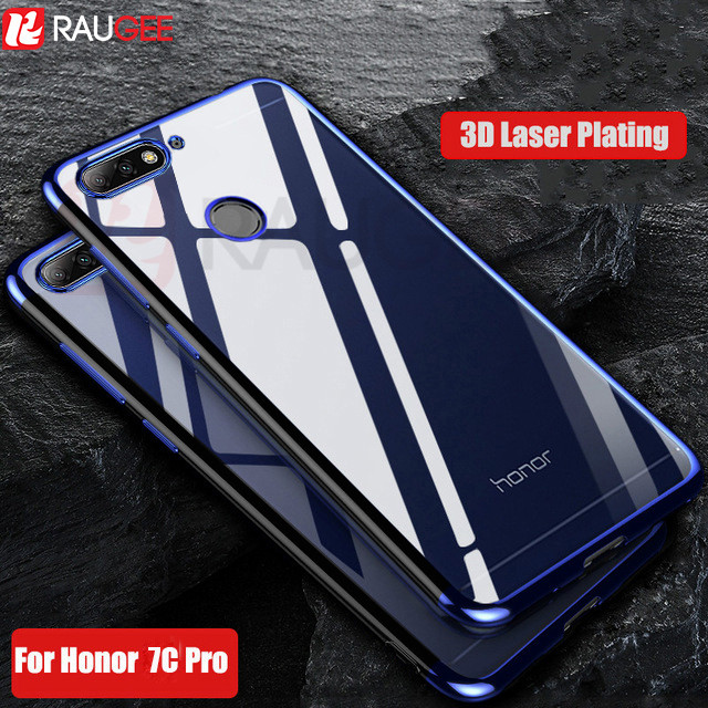 Luxury Soft Case For Huawei Honor 7C Pro Case Bumper Cover Silicone Transparent Platint Clear TPU Silicon For Huawei Honor 7C