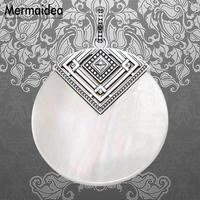 Pendant Ethnic Mother of Pearl Ornament 2019 New Fashion Jewelry Trendy 925 Sterling Silver Gift For Women Fit Necklace