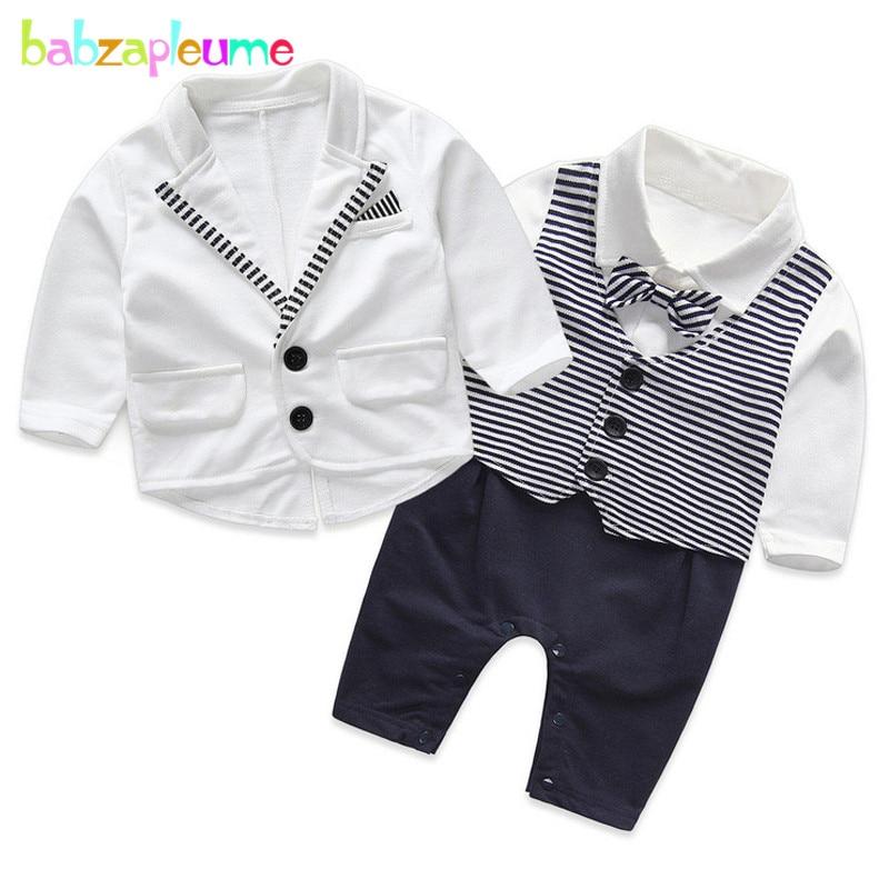 2PCS/0-24Months/Spring Autumn Newborn Boys Clothes Gentleman Baby Suit White Jacket Coat+Bow Rompers Infant Clothing Sets BC1148