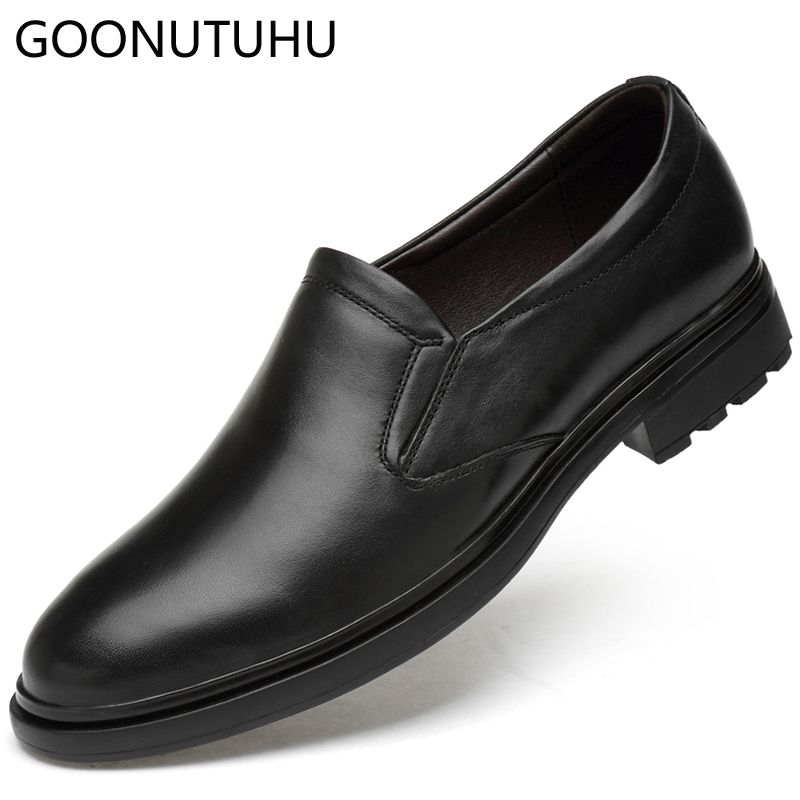 2019 new men's dress shoes genuine leather cow classic black slip on shoe  man business office wedding party formal shoes for men - aliexpress com