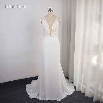 Deep V Neckline Wedding Dress Sheath Chiffon Lace Elegant Bridal Gown - DISCOUNT ITEM  0% OFF All Category