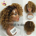 Kinky Curly Ombre Blonde Color Wigs Heat Resistant Synthetic Lace Front Wigs Afro Kinky Culry Glueless Wigs For Black Women