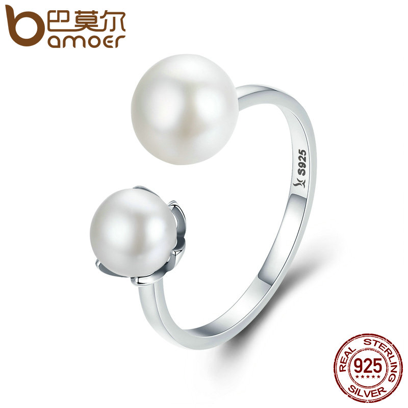4eea7330b0 Detail Feedback Questions about BAMOER Genuine 100% 925 Sterling Silver  Double Ball Finger Ring Adjustable Women Ring Luxury Sterling Silver Jewelry  SCR192 ...