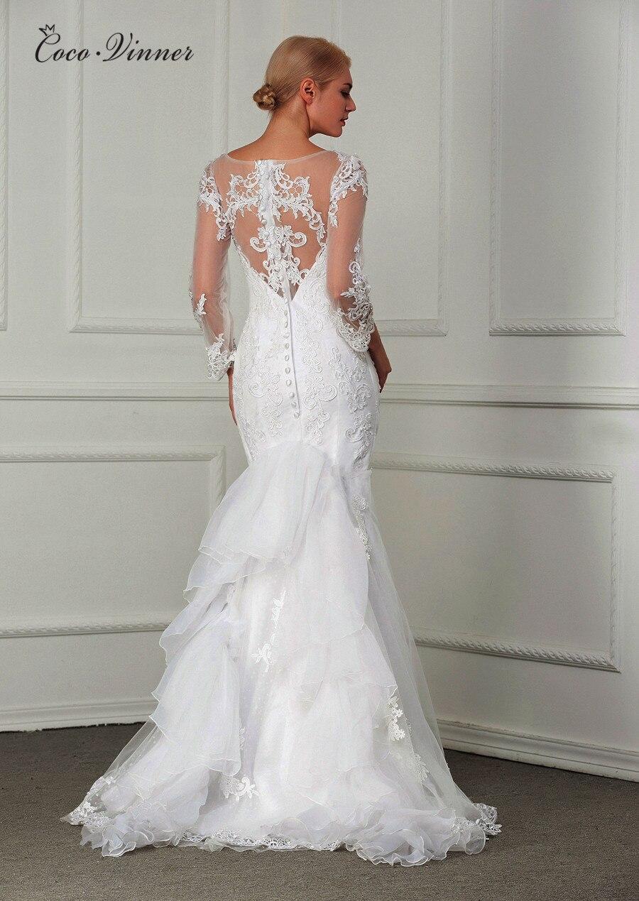 Vestido De Noiva 2019 Long Sleeve Sheer Neck Custom Made Pearls Beading Embroidery Lace Fashion Mermaid Wedding Dress W0004