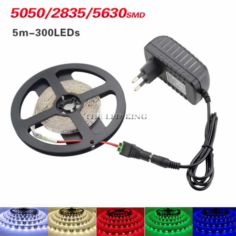 5M RGB LED Strip Lampu 2835 SMD Dioda RGB Tape Tahan Air Fleksibel Pita LED 60D/M + DC12V adaptor Daya