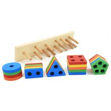 Wooden Educational Shape Color Recognition Geometric Board Stack Sort Chunky Puzzle Toys,Birthday Gift Toy for Age 3 4 5