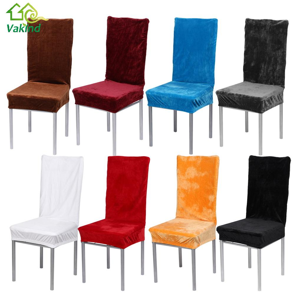 1 Piece 8 Solid Colors Polyester Dining Chair Covers For Wedding Party Chair Cover Home Hotel Office Warm Seat Covers