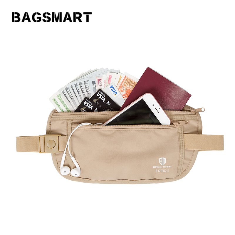 BAGSMART RFID Waist Bag High Quality Travel Waist Pouch Belt Money Wallet Bags Passport Holders Change Safe Strap