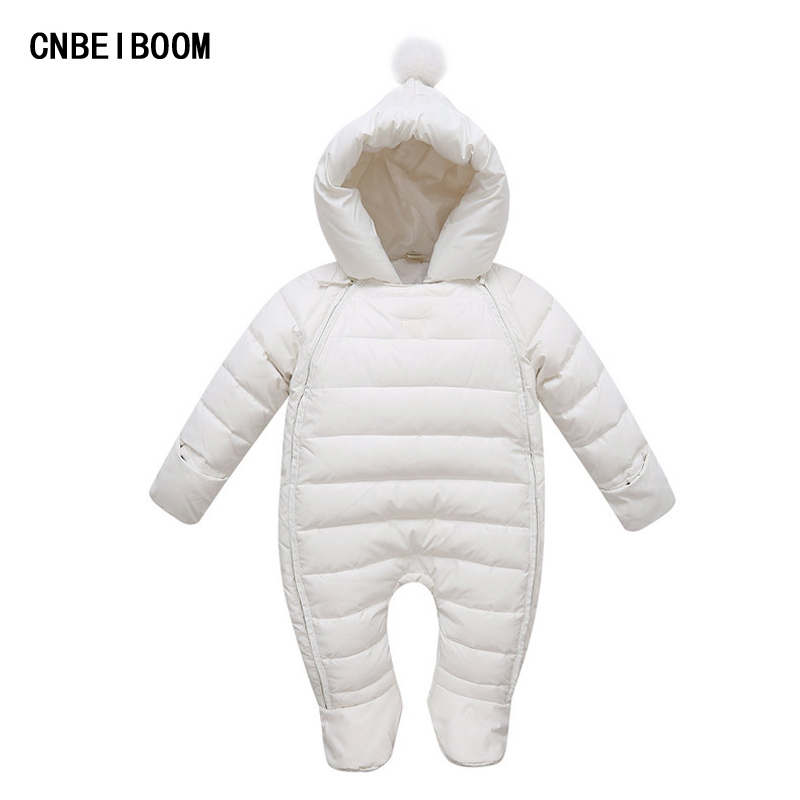 Winter Baby Romper Newborn Overalls Infant Girls & Boys Jumpsuits Duck Down Snowsuit Thick Hooded Jacket Comfortable Clothes winter newborn baby girls clothing boys rompers cartoon infant clothes down snowsuit babies jumpsuits christmas clothing 2016
