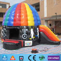 Commercial 5 4 2m Disco Dome Inflatable Bouncer Slide For Kids