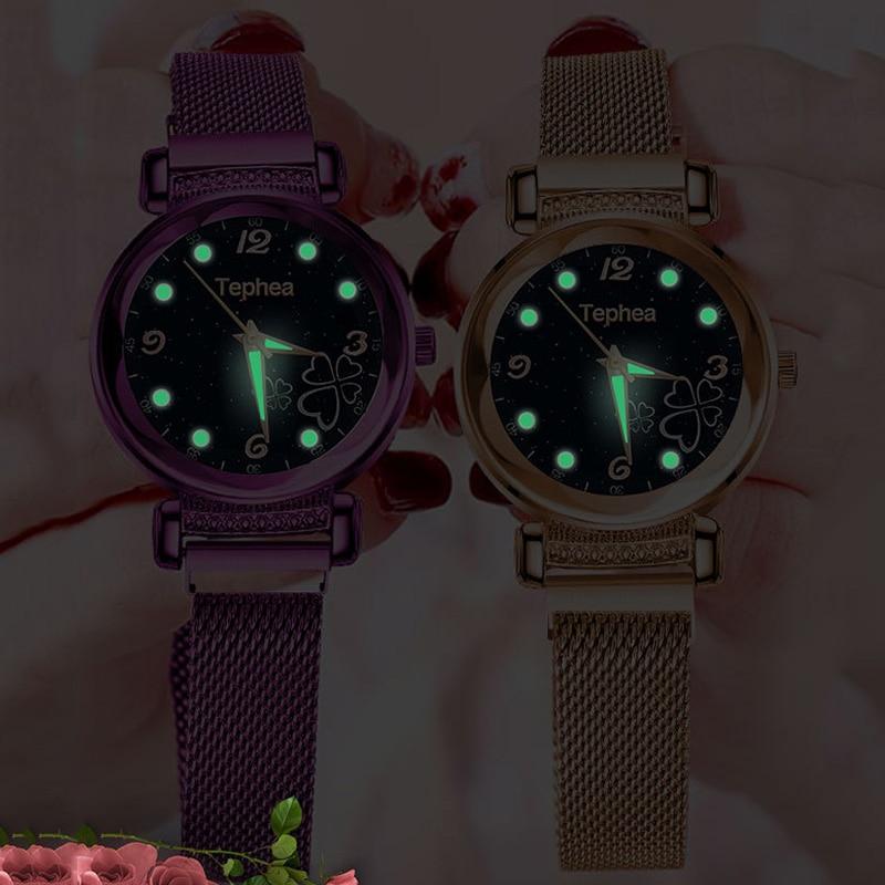 Women Magnet Watch Purple Butterfly Watch Luxury Crystal Ladies Starry Sky Quartz Wristwatches Waterproof Clock relogio feminino in Women 39 s Watches from Watches