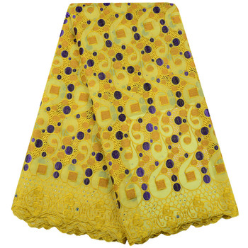 Yellow African Lace Fabric Swiss Voile Cotton Lace High Quality Nigeria Swiss Voile Lace In Switzerland For Party Dresses 1514