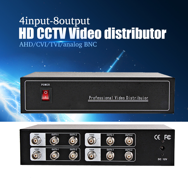 Wholesale 4-8ch AHD Video distributor/Splitter BNC 4 Input 8 Output,Support AHD/CVI/TVI Camera in&out,Distance Maximum To 600M 1 in 4 out ahd tvi cvi video distributor amplifier 1ch to 4ch splitter for cctv security camera system bnc 1x 4 video splitter