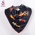 [BYSIFA] Charaters Black Square Scarves Printed For Ladies 90*90cm Fashion Accessories Autumn Winter Women Men Twill Silk Scarf
