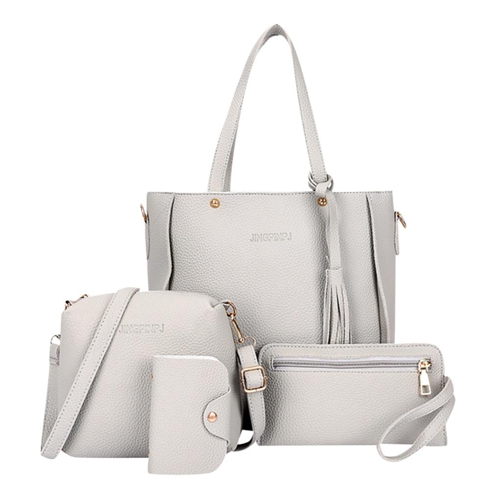4pcs Women Handbags Solid Color Retro Hand Bag Four-Piece Shoulder Bag Design Shoulder Messenger Bag Wallet Handbags