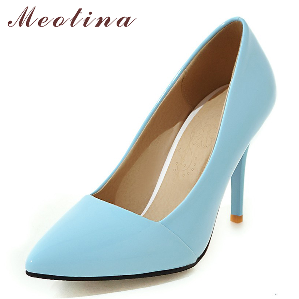 Meotina Patent Leather Thin High Heels Women Pumps  Super High Heel Party Shoes Sexy Pointed Toe Shoes Lady Spring Big Size 3-12