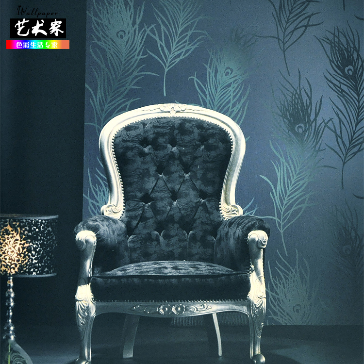 Фотография new hot selling non-woven southeast the peacock feathers wallpaper bedroom European feathers Wall paper PND tail-on TV backdrop
