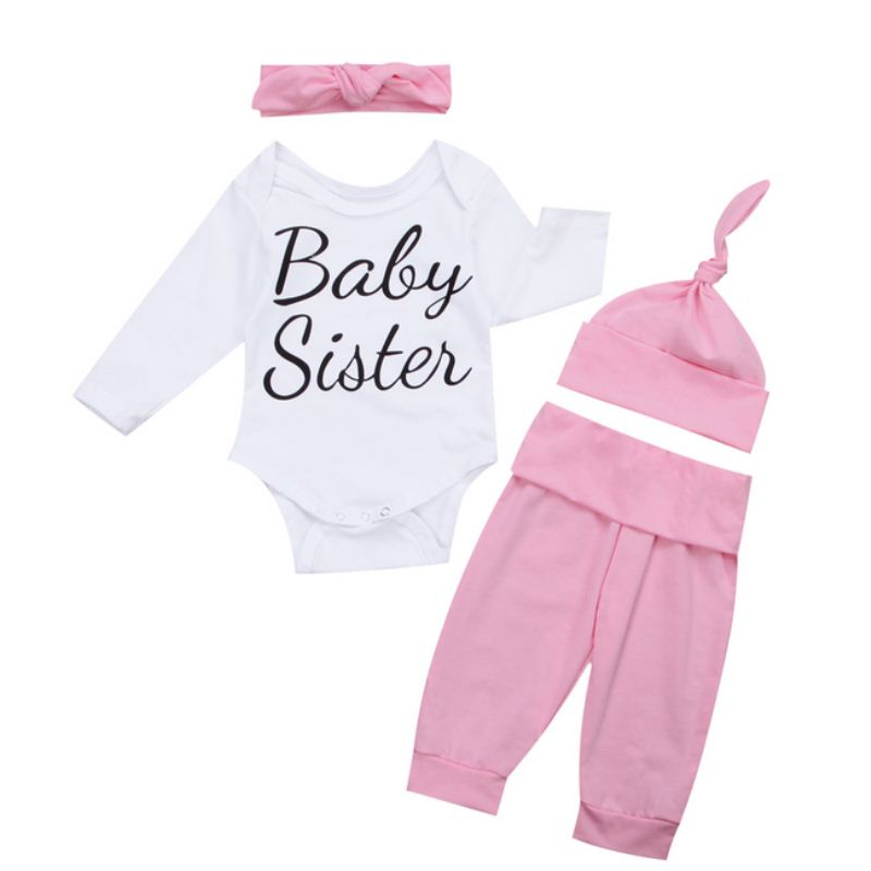 Newborn Clothing Set Casual Baby Girls Warm Clothes Cotton Long Sleeve Romper Jumpsuit Long Pants Outfits Set