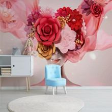 Modern minimalist hand-painted three-dimensional rose beauty Nordic wall professional custom mural photo wallpaper