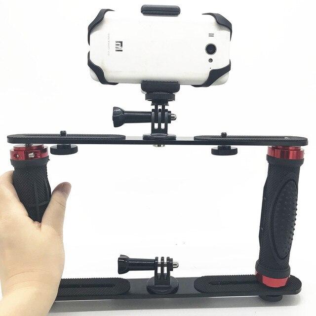 כפול זרוע צלילה צלילה סוגר פנס מגש מייצב הר עבור Sony Gopro SJCAM פעולה מצלמה, Camcoders, Smartphone