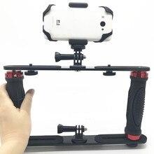 Suporte de lanterna para mergulho com braço duplo, estabilizador de bandeja para câmera de ação da sony gopro sjcam, câmera de mergulho