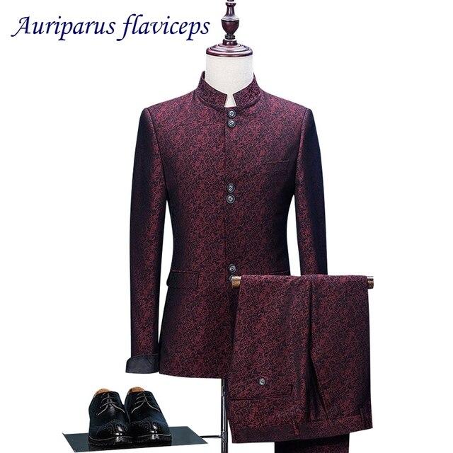 חדש 2 חתיכה סיני טוניקת חליפת צווארון גברים חליפות חתונה בלייזר Slim Fit זכר חליפת טוקסידו לנשף מסיבת אדום אקארד עסקי חתן