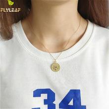 Flyleaf Unique Design 100% 925 Sterling Silver Golden Moon And Six Pence Pendant Necklaces For Women Gold Colour Jewelry Chain unique design golden