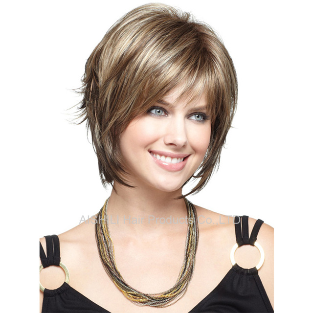 Brilliant Womens Short Wavy Bob Cut Hair Wigs Hight Light Brown Mix Blonde Short Hairstyles For Black Women Fulllsitofus