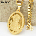 Tino Carlo Holy God Virgin Mary Oval Layers Medal Necklace Stainless Steel Gold Plated Notre Dame Virgin Necklace