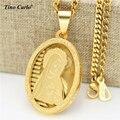 Tino Carlo Santa Virgen María Dios Oval Medalla de Capas Collar de Acero Inoxidable Chapado En Oro Collar de Notre dame Virgen