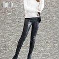 Черный подлинная кожаные штаны плюс размер овчины сращены карандаш брюки брюки шаровары pantalon femme pantalones mujer LT035