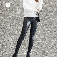 Black genuine leather pants plus size lambskin spliced pencil pants trousers harem pants pantalon femme pantalones mujer LT035
