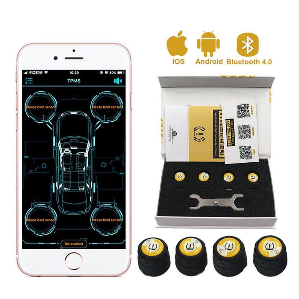 Voiture intelligente TPMS Bluetooth APP affichage en temps réel système de surveillance d'alarme de pression des pneus 4 capteurs externes universels pour BMW VW Audi