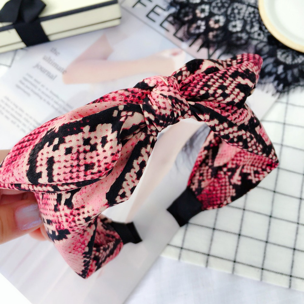 Korea Fabric Snake Skin Pattern Hairbands Diamond Plaid Hairband Crown Headbands For Girls Butterfly Bows Hair Accessories Various Styles Girl's Accessories