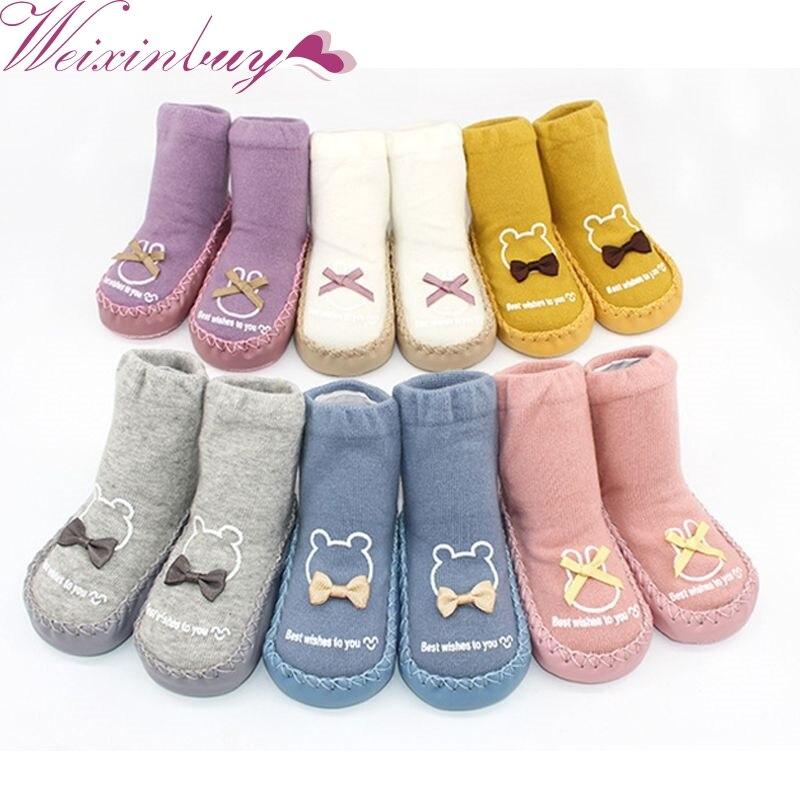 Cute 6 Colors Newborn Spring Autumn Winter Infant Funny Socks Anti Slip Baby Boy Socks With Rubber Soles Baby Girl Cute Socks H1
