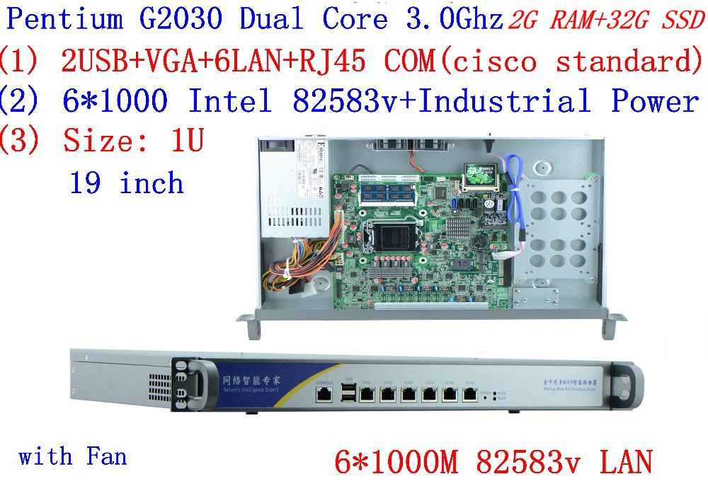 1U Firewall Server 2G RAM 32G SSD With 6*1000M 82583V Gigabit Intel Pentium G2030 3.0GHZ Support ROS Mikrotik PFSense Panabit