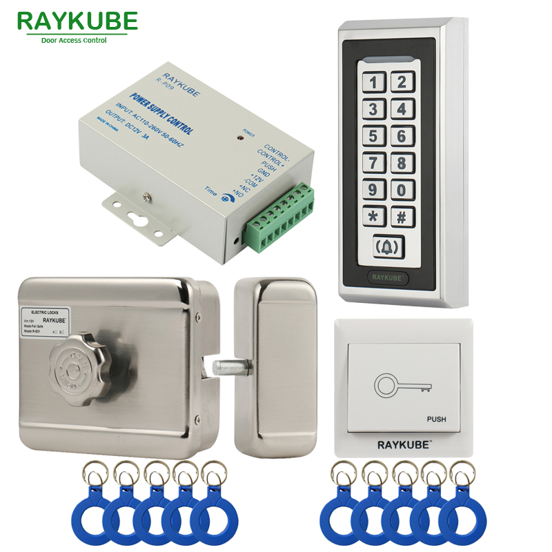 RAYKUBE Electric Motor Lock Access Control System Kit + Metal Password Keypad+Exit Button+ID Keyfobs RAYKUBE Electric Motor Lock Access Control System Kit + Metal Password Keypad+Exit Button+ID Keyfobs