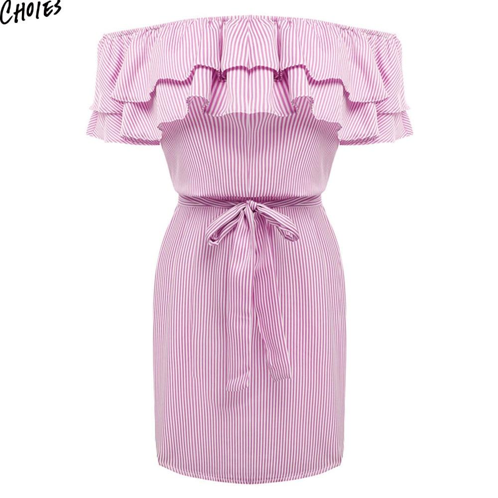 Donne Al Largo della Spalla A Righe Layered Ruffle Tie Vita Mini Vestito Estivo 2 Colori Backless Maiusc Casual Streetwear