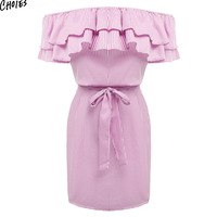 Women Off The Shoulder Striped Layered Ruffle Tie Waist Mini Dress Summer 2 Colors Backless Casual