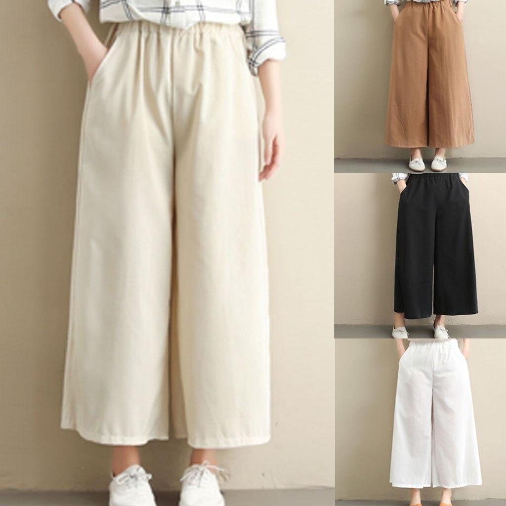 KLV Solid Color Elastic Waist Tie Plus Size   Pants   2019 Spring Pockets Casual Loose Linen Women Calf-Length   Wide     Leg     Pants   5.17