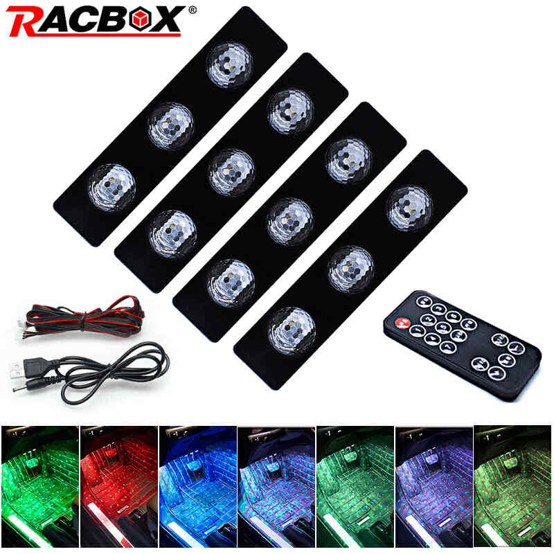 Auto RGB Led strip light Interior Decorative lamp Driving position Light With Remote Kit Wireless Music Control 7 color